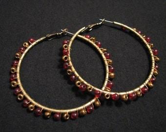 HUGE Vintage Brass and Red Bronze Wrap Beaded Hoop Pierced Earrings