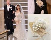 Boutonniere, Brooch, Wedding, Groom, Corsage, Mother of the Bride, Ivory, Tan, Beige, Champagne, Pearls, Crystals, Elegant, Vintage Style
