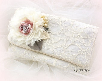 Clutch, Ivory, Gray, Silver, Dusty Rose, Lace Handbag, Purse, Mother of the Bride, Maid of Honor, Pearls, Elegant Wedding, Vintage Style