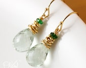 Gold Green Amethyst Earrings - Green Tourmaline - 14K Gold Filled