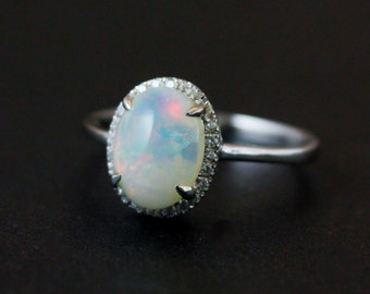Halo Diamond Australian Opal Ring - Silver Opal Ring - Engagement Rings - Pave