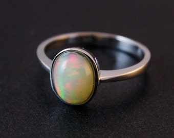 Silver Opal Ring - October Birthstone Ring - Oval Opal Ring