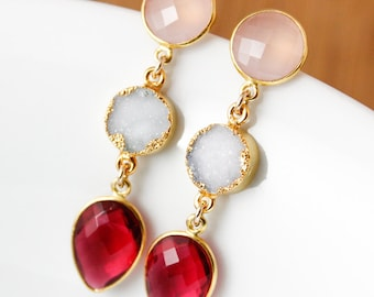 50% OFF SALE - Pink Chalcedony, White Druzy, & Ruby Quartz Earrings - Holiday Earrings - Gold