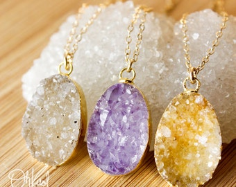 50% OFF SALE - Gold Druzy Necklaces - Colourful Druzy Pendants - Choose Your Druzy