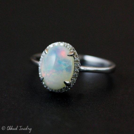 Halo Diamond Australian Opal Ring Silver Opal Ring