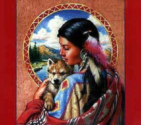 Indian Maiden Baby Wolf Cross Stitch PatternLK I SEND By