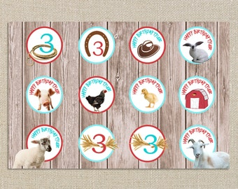 Birthday Party Cupcake Toppers - Farm Petting Zoo - Digital Printable File