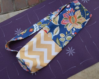 Yoga Mat Carrier in Blue Floral and Yellow Chevron Prints, Yoga Mat Tote Bag, Yoga Gym Bag, Yoga Mat Bag