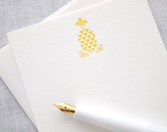 Pineapple Letterpress Stationery - Set of 6 Flat Notes