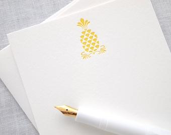 Pineapple Letterpress Stationery - Set of 6 Flat Notes