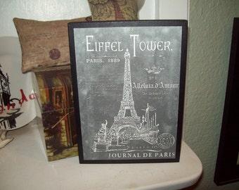 PARIS chalkboard look Eiffel Tower shelf sitter plaque sign,SHABBY chic,Paris decor,FRENCH decor,Paris bedroom decor,French bedroom