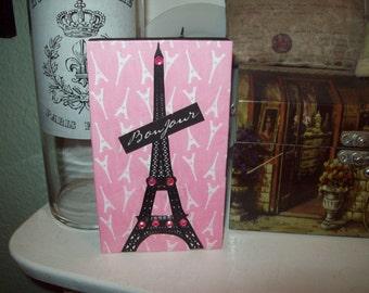 FRENCH decor pink EIFFEL Tower Bonjour block sign PARIS decor,shabby chic,Paris bedroom decor,French bedroom decor,Paris wall decor