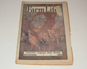 vintage Farm Life magazine, November 1923, vintage magazine, paper ephemera, collectible magazine, vintage ads, fashion ads, farm living