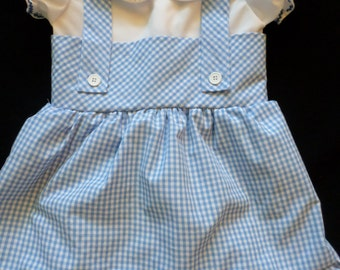 Girls Dorothy Wizard of Oz Inspired Blue Gingham Costume Party Dress Size 3