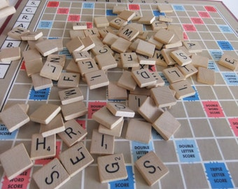 Vintage Scrabble Crossword Game Board Game Game pieces Wooden Letter Pieces Craft