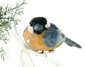 Chickadee Ornament Beaded Clip- On Bird Christmas Ornament Holiday Decoration  *READY TO SHIP