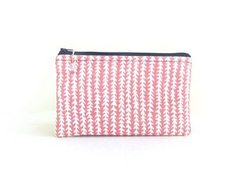 Pink Clutch / Zippered Bag with Beaded Pull - READY TO SHIP