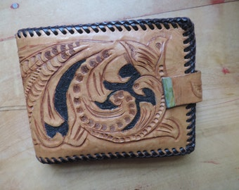 tooled leather wallet vintage floral billfold boho money holder Mexico tooled wallet