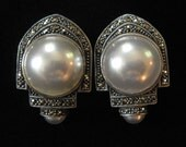 Judith Jack Massive Mabe Pearl Sterling Silver Marcasite Earrings