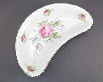 Lefton China Pink Rose Vintage 1950s Bone Dish