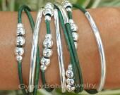 Leather Boho Wrap  Bracelet - Silver Tube Beaded Bohemian Triple Wrap Bracelet w/ Extension - Pick SIZE / COLOR  - Made In Usa 011