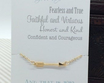 Gold arrow necklace - small arrow charm pendant - message faithful and Fearless courage quote carded gift