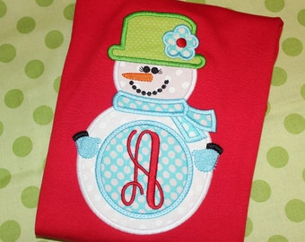 Snowman girl bodysuit, tshirt or dress-  can change fabric