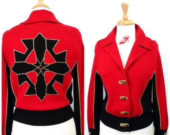 St John Jacket Red and black knit Blazer Gold Beaded Embroidery Cross back Women S
