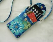 Smart Phone Iphone 6 Gadget Case Detachable Neck Strap Quilted Floral Blues Teal
