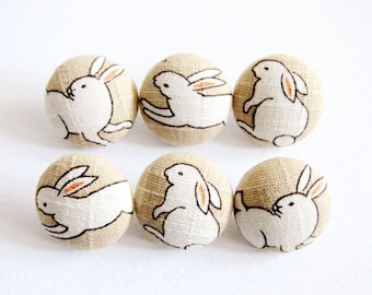 Fabric Covered Buttons - Rabbits - 6 Medium Fabric Buttons