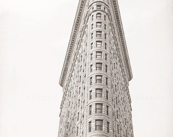 The Flatiron Building, NYC Decor, Black and White Wall Art Print  photography, home decor, minimalist, neutral, urban, grey, white wall art