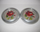 Vintage Red Rose Needlepoint Coasters (2) - Made in Hong Kong