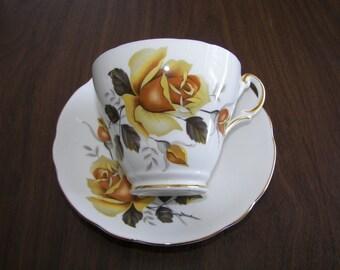 Yellow rose  Bone china England Tea Cup & Saucer Regency  Shabby Chic