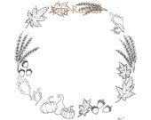 Autumn Wreath, digital coloring page