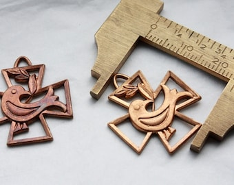 2 Vintage 1950s  Antique Brass Copper Cross Pendants // 50s 60s Crosses stampings // NOS // Craft Jewelry Supply // The Holy Spirit // Dove