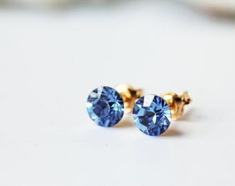 Blue Light Sapphire Swarovski Studs Gold Dainty Crystal Everyday Earrings
