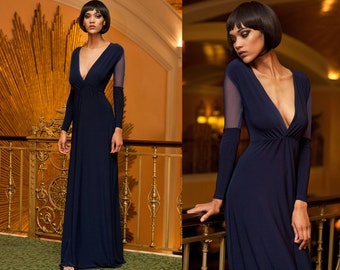 Navy Blue Mesh Sleeve Plunge Neck Formal Long Sleeve Maxi Dress Gown