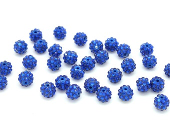 10 Royal Blue Chunky Gumball Beads, 12mm  Resin Rhinestone Beads