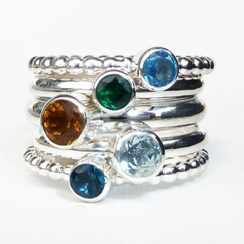 5 birthstone stacking rings mothers ring by gizmostreasures. Black Bedroom Furniture Sets. Home Design Ideas