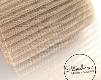 6 Inch (15.2cm) Wide Pleated Crinoline (Crin, Horsehair Braid) for Millinery, Hats and Fascinators - Sand