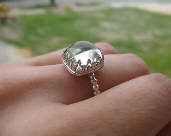 Prasiolite Princess Statement Ring Sterling Silver Custommade