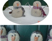 Primitive Winter Penguin and Snowman Scatter Dolls  E Pattern - Collectible Handmade Folk Art Dolls by Lisa's Attic Art Treasures