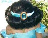 Custom Made Princess Jasmine CROWN from Aladdin HEAD PIECE Sea Foam Green Satin Head Band with Blue Stone Costume Accessory