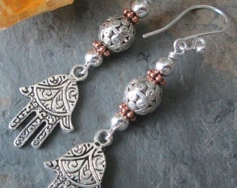Hamsa - Silver and Copper Bohemian style earrings with Hamsa charm dangles
