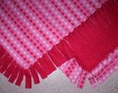 Fleece Blanket - Holiday - Heart Stripes