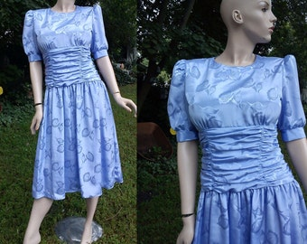 Sale 30% OFF 80s Dress, Vintage Dress in Blue, 80s Cocktail Dress, Brocade Dress by Sunshine/Starshine in Periwinkle Blue with Waist Ruching