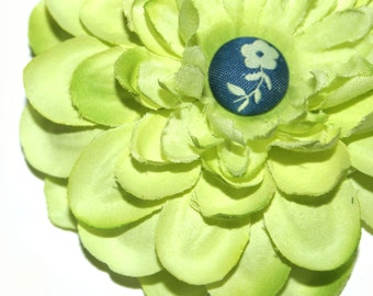Light Green Silk Embellished Zinnia -  Silk Flowers, Artificial Flower