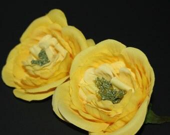 2  Medium Yellow Silk Ranunculus - Artificial Flowers, Silk Flowers
