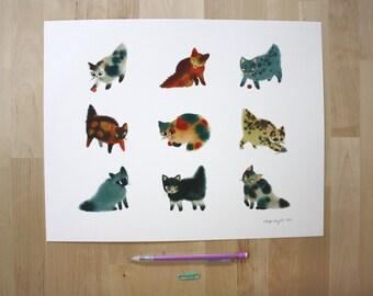 "Watercolour Kittens- 11X14"" Digital Giclee Print"