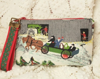 "New Handmade Small Pouch from Grandma Moses ""Early Springtime on the Farm"" Vintage Barkcloth with Key Fob Wristlet"